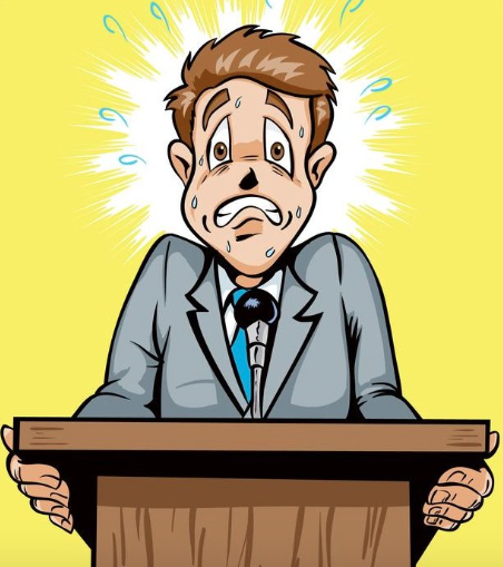 Cartoon illustration of terrified man gripping podium. Understanding fear of public speaking.